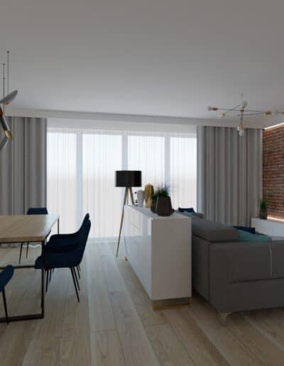 projektanci wnętrz salon cegla z kuchnia 1k Salon z ceglaną ścianą TV
