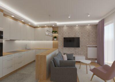 Salon biały kamień z kuchnią