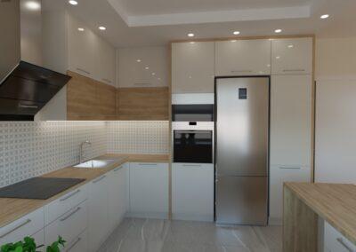 Kuchnia otwarta na salon oliwkowy