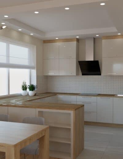 projektanci wnętrz salon z kuchnia rozowy 1d Salon z różowym akcentem otwarty na kuchnię