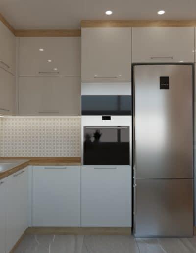 projektanci wnętrz salon z kuchnia rozowy 1e Salon z różowym akcentem otwarty na kuchnię