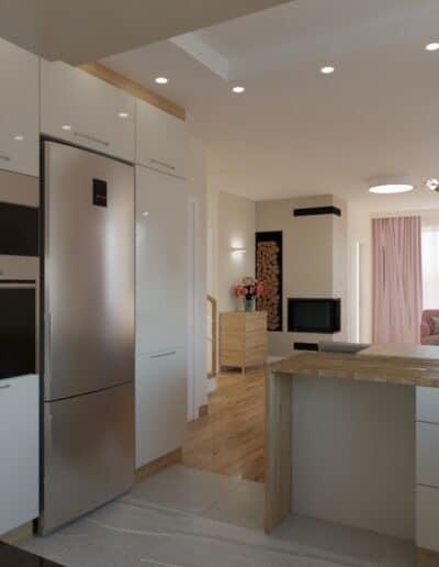 projektanci wnętrz salon z kuchnia rozowy 1f Salon z różowym akcentem otwarty na kuchnię