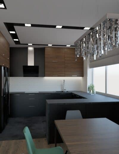 projektanci wnętrz salon z kuchnia schody 1a Salon z kuchnią schody