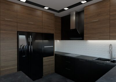 Elegancka kuchnia otwarta na salon