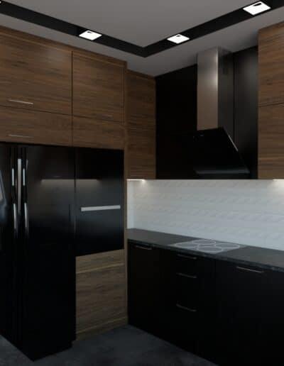 projektanci wnętrz salon z kuchnia schody 1b Salon z kuchnią schody