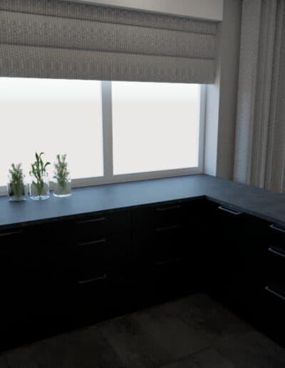 projektanci wnętrz salon z kuchnia schody 1c Salon z kuchnią schody