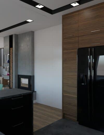 projektanci wnętrz salon z kuchnia schody 1f Salon z kuchnią schody