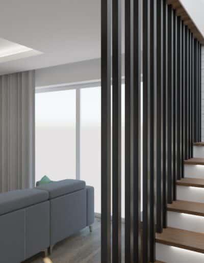 projektanci wnętrz salon z kuchnia schody 1h Salon z kuchnią schody