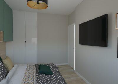 Sypialnia biało-zielona