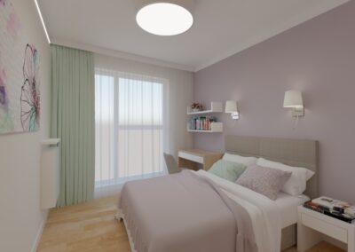 Sypialnia różowa z obrazkami